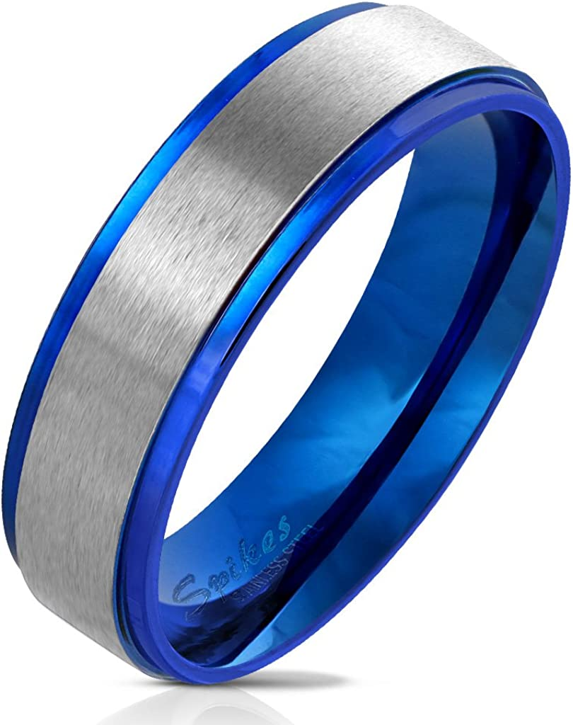 Jinique STR-0580 Stainless Steel Blue IP Stepped Edge with Brushed Steel Center Ring