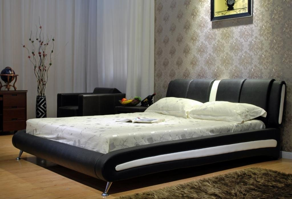 Greatime B1040 Two-Tone Vinyl Platform Bed, Eastern King by Greatime