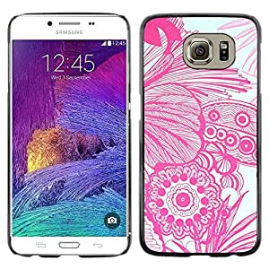 Paccase / SLIM PC / Aliminium Casa Carcasa Funda Case Cover para - Floral Flowers White Drawing Hand Art - Samsung Galaxy S6 SM-G920