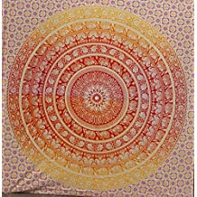 Fairdecor Red Orange Elephant Ombre Mandala Tapestries heavy Cotton Fabric Psychedelic Tapestry Beach Throw Indian Tapestry Bedding