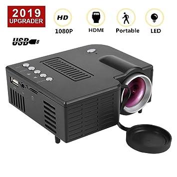 ASHATA Mini Proyector HD,1080P Projector Portátil (16: 9 y 4: 3 / hasta 100,000 Horas/Compatible con HDMI/VGA/AV/USB/SD/Apoyo 23 Idiomas) (Negro)