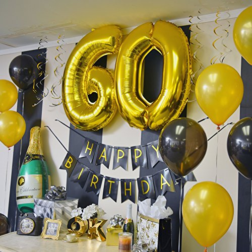 High Quality 60th Birthday Party Pack Black Gold Happy Bunting Poms