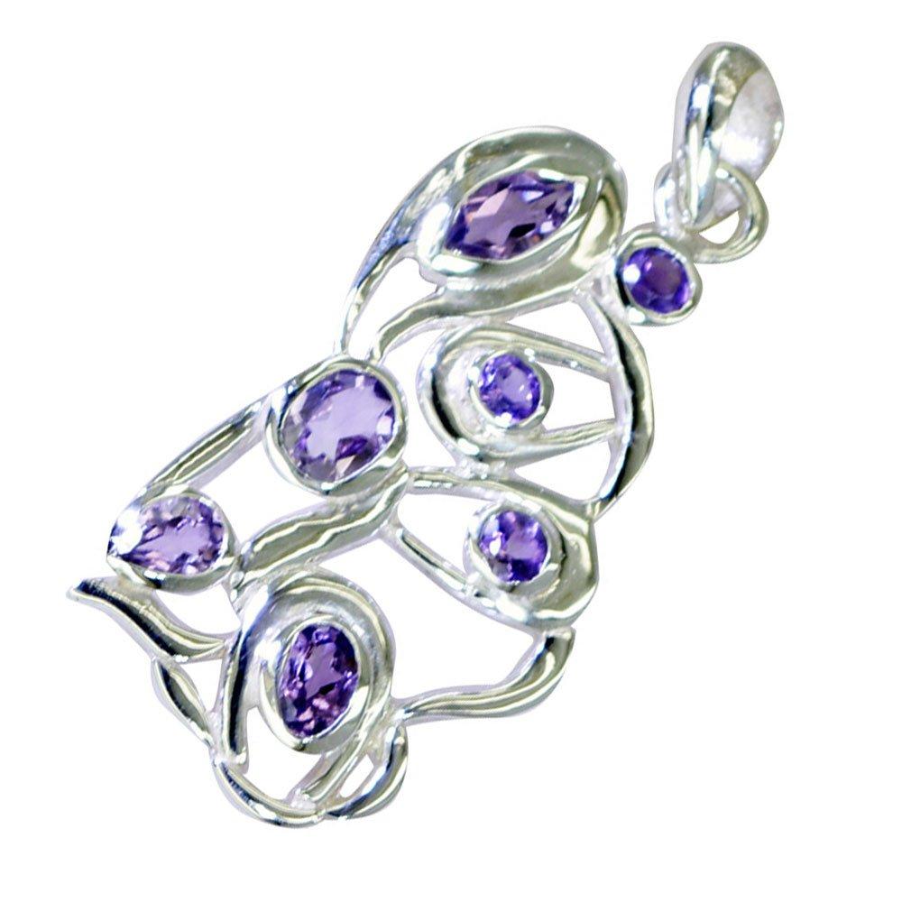 CaratYogi Nice Amethyst 925 silver pendant For Women February Birthstone Charms Jewelry Chakra Healing