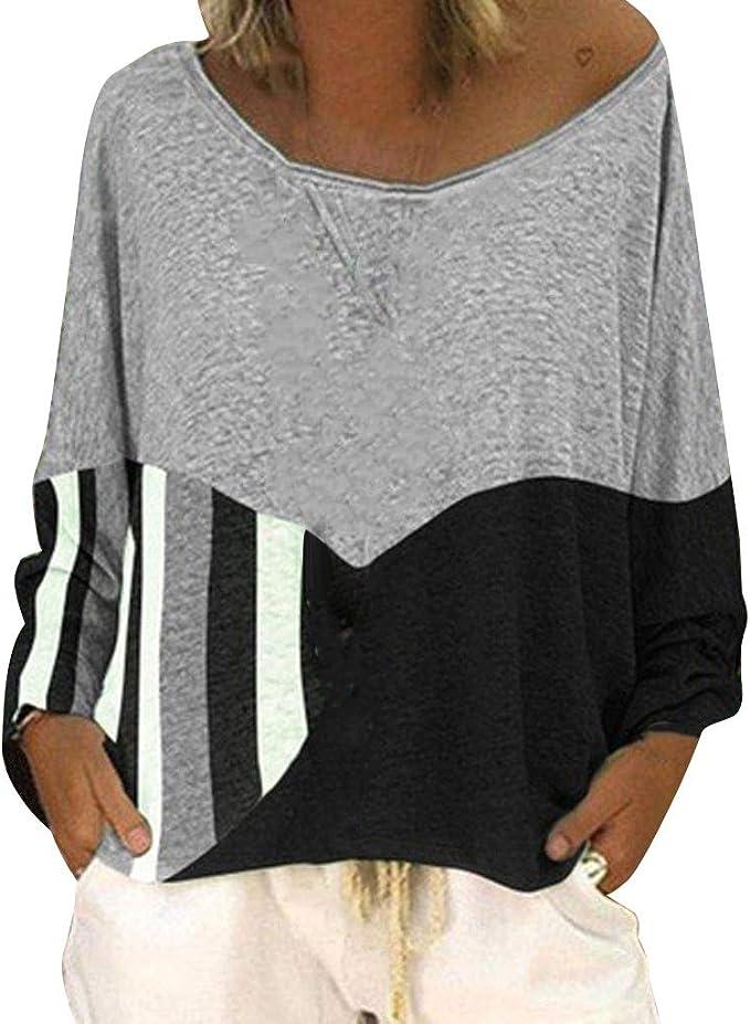 Damen Spitze Casual  3//4 Ärmel Kalte Schulter Basic Shirts Tops Bluse Baggy 3XL