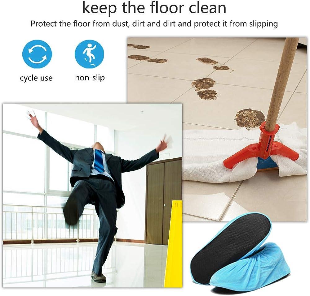 Cubrezapatos Antideslizantes Cubiertas Reutilizable Zapatos para el Hogar la Oficina y la Sala de M/áquinas SENDILI Cubre Zapatos Franela