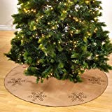 Occasion Gallery Natural Hand Beaded Snowflake Design Jute Burlap Holiday Christmas Tree Skirt, 53'' Round