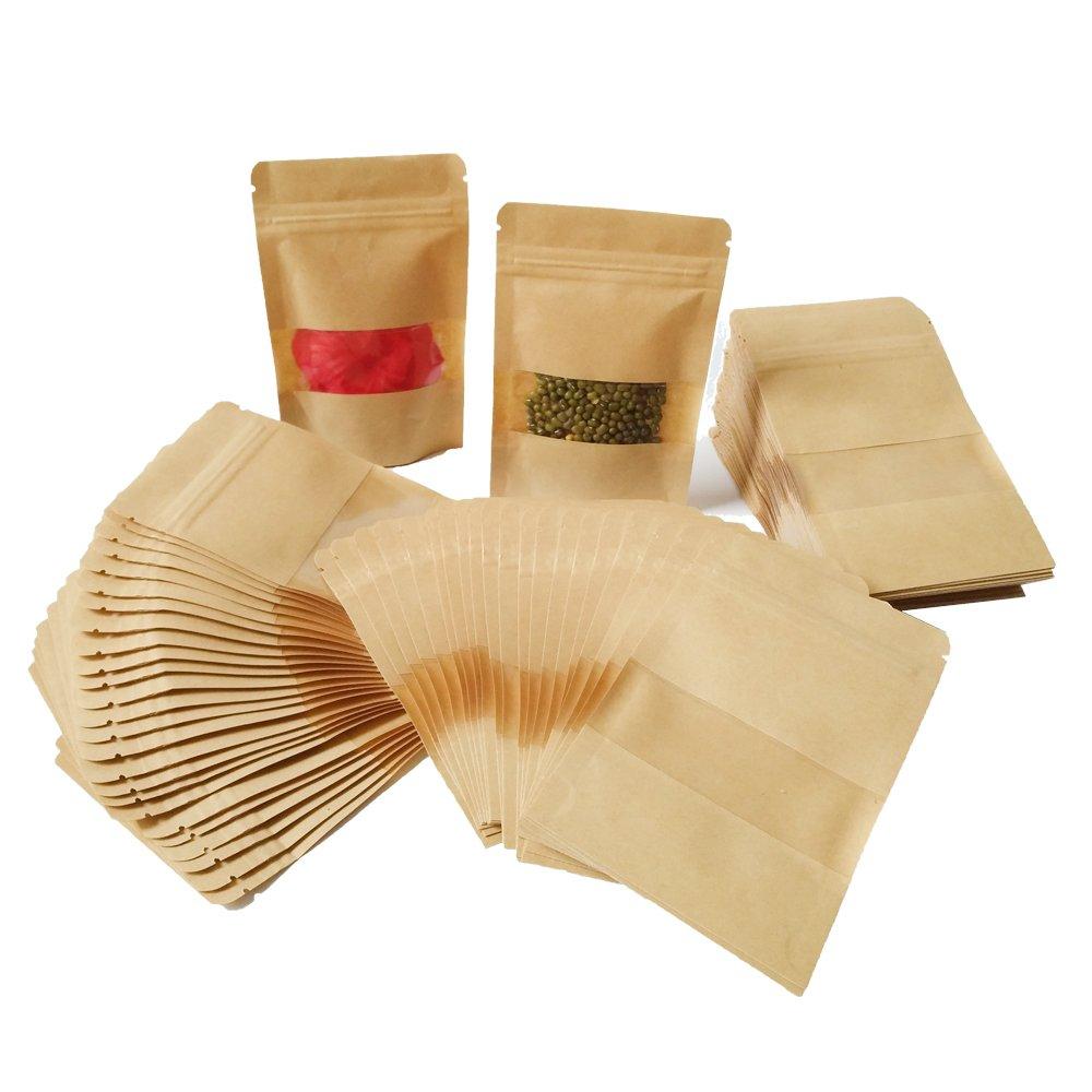 100pcs Zip Kleine Papierbeutel Papiertüten mit Fenster Kleine Mini Papiertüten Zip Kraftpapierbeutel imprägniern biologisch abbaubare Kraftpapier Tüten Beutel kann als SamenBeutel Umschlag Geschenktüten Schmucktüten Süßigkeitentüten benutzt werden MZTD