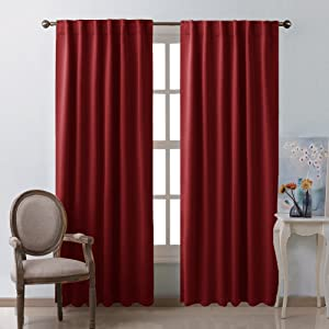 """NICETOWN Burgundy Blackout Window Draperies Curtains - (Burgundy Red Color) 52"""" x 84"""", Double Panels, Thermal Insulated Blackout Drapes/Panels"""