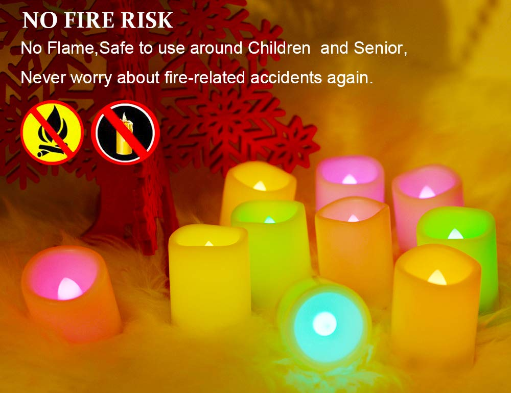 Hours Long Battery Operated Led Tea Light Candles,10 Pcs Colored Flickering Candles for Halloween Gift and Wedding D/écor. 100 Multi Color Changing Votive Flameless Candles with Remote and Timer