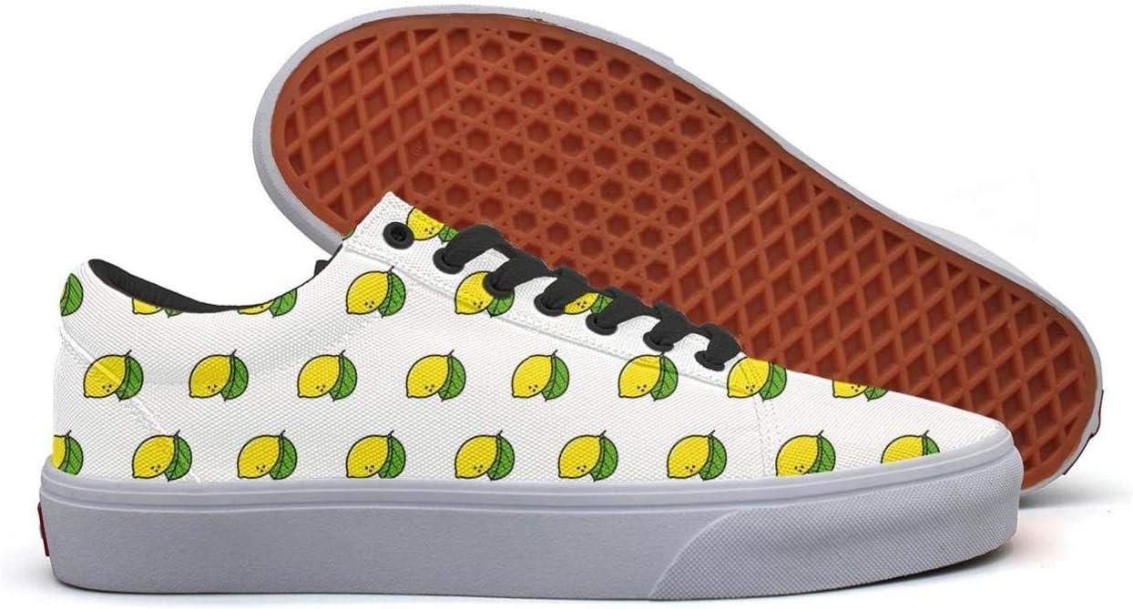 Lemon Tropical Fruit Low Top Canvas Sneakers Skateboard Shoes Slip on Lace-up Fashion Sneaker Shoe Women
