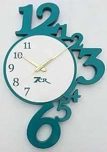 7cr Analog Wall Clock - (31.75x45.72 cm, Turquoise White)