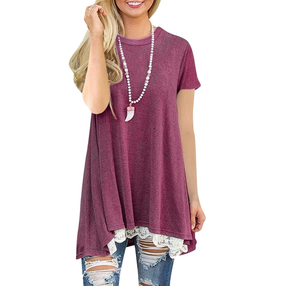 WILLTOO Womens Tunic Top Stylish O-Neck Dressshirt Short Sleeve Blouse Plus Size T-Shirt