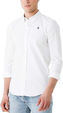 Scalpers NOS Button Down Shirt - Camisa para Hombre, Talla 37, Color Blanco: Amazon.es: Ropa y accesorios