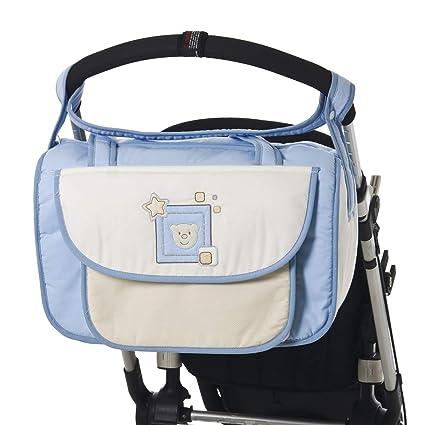 Bolso BEBE BORDADO CARITA OSITO. Azul. Bolso maternal con bolsillos ...