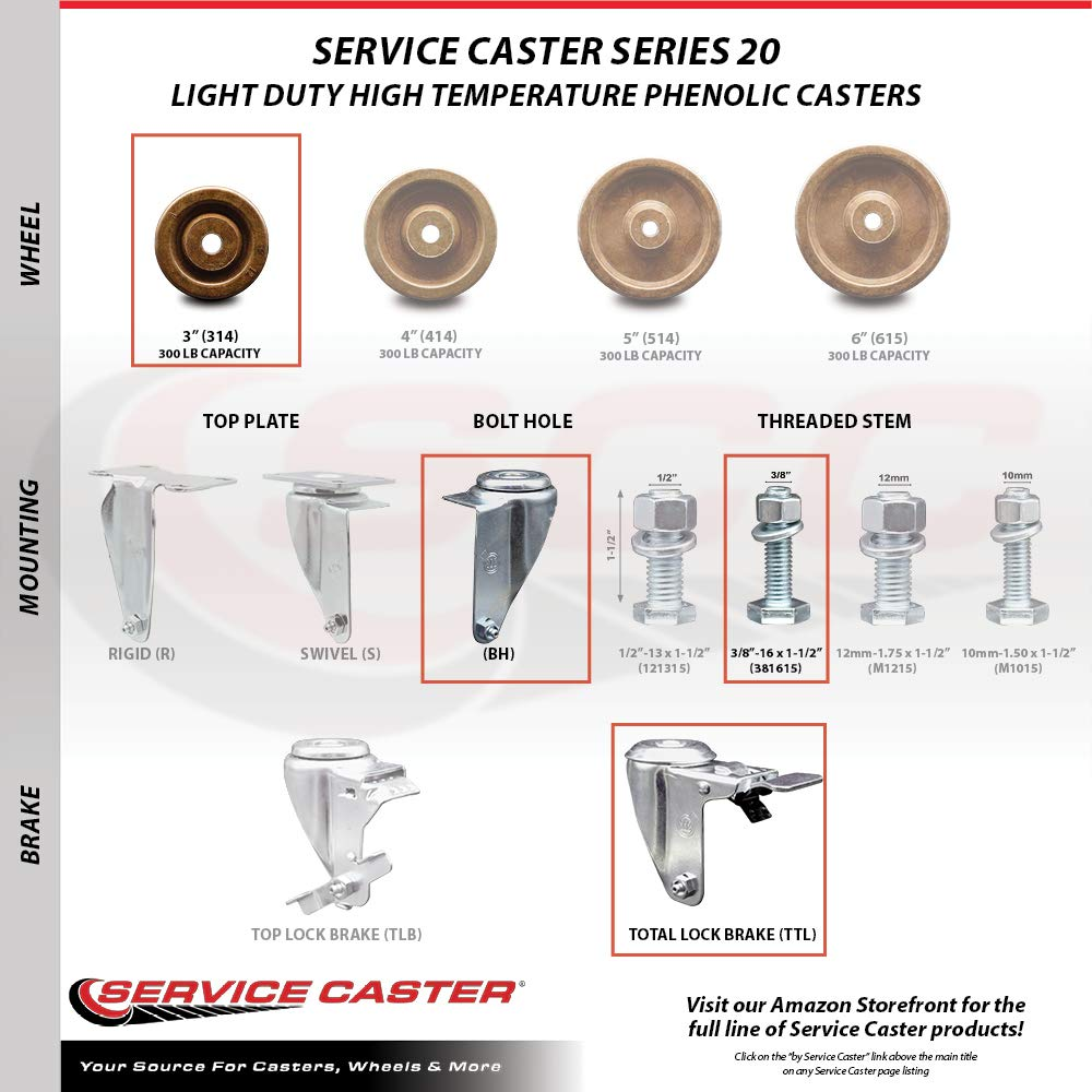 1200 lbs Total Capacity Service Caster Brand High Temperature Phenolic Swivel Threaded Stem Caster Set of 4-3 x 1.25 Brown Wheels and 3//8 Stems Includes 2 with Top Locking Brake
