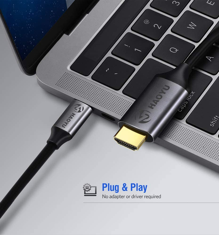 MacBook Air//Samsung S10,and More Thunderbolt 3 AOOGO USB Type-C to HDMI Cable for Mac、iPad Pro 2018 USB C to HDMI Cable 4K 60Hz HDCP 2.2 MacBook Pro 2018//2017