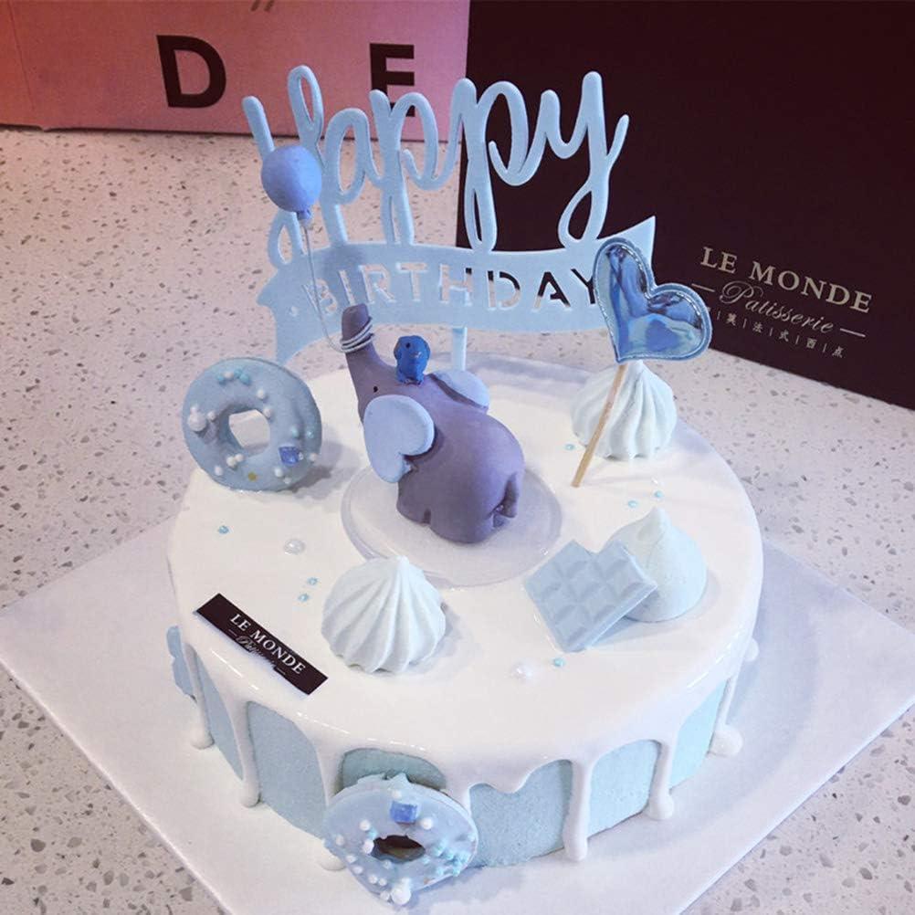 YeahiBaby Beau ballon /él/éphant poup/ée r/ésine coeur g/âteau ornements petites d/écorations Dessert de table pour la f/ête de mariage bleu ciel
