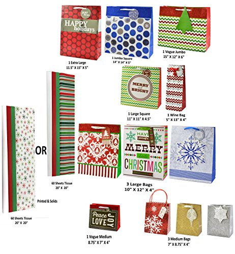 Deluxe Christmas Holiday Gift Bag Set,12 Assorted bags with 60 Sheets of Tissue