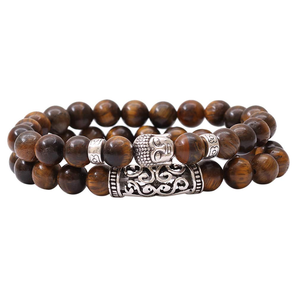 Elogoog Natural Colorful Lava Stone Bead Lion Buddha Beaded Yoga Energy Healing Charm Bracelet 8mm Men Women