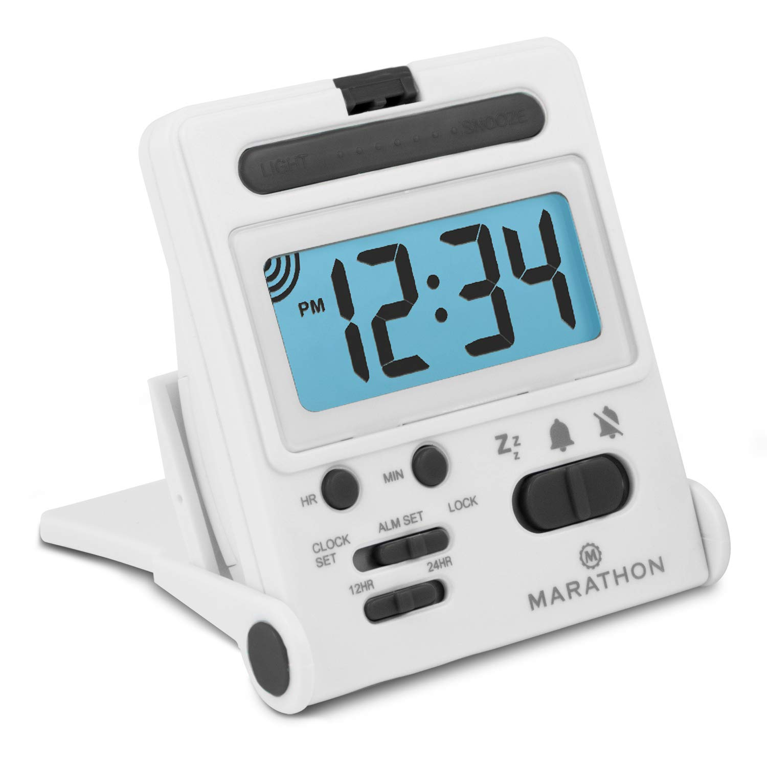 Marathon Basics Simple Travel Alarm Clock with Calendar /& Temperature Titanium Easy to use - Battery Included Easy to Set