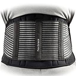 Back Support Brace Belt Lumbar Waist Double Adjust By Flexibrace ® (LARGE)