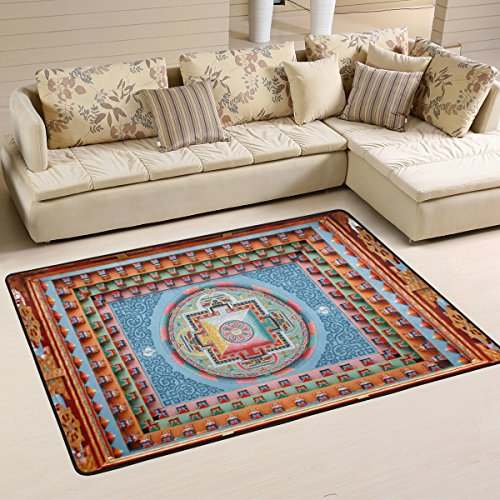 DEYYA Tibetan Mandala Painting Area Rug,Modern Polyester Collection Non-Slip Living Room Carpets Suitable for Children Bedroom Decor Floor Mat 36 x 24 inchs