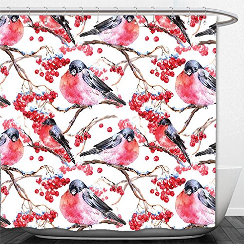 Interestlee Shower Curtain Nature Bullfinches Birds on Branches Blueberries Dramatic Spring Watercolor Design Silver Grey Red (Flowered Red Curtains)
