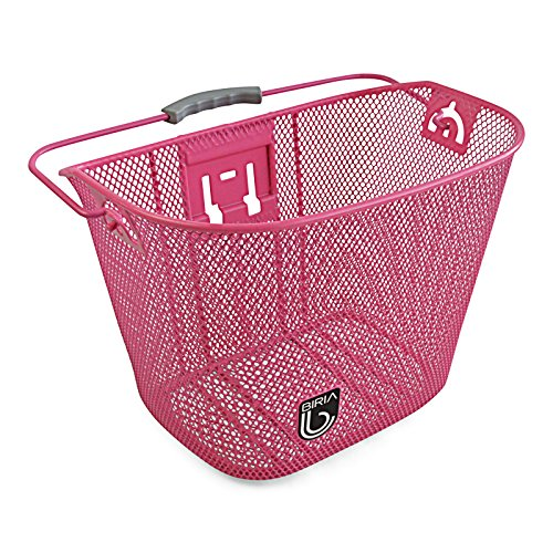 Wire Bracket Basket (Bicycle Basket with Bracket Pink, Front Quick Release Basket, Removable, Wire Mesh Bicycle basket, NEW, Pink)