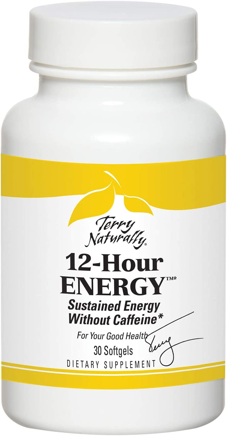 Terry Naturally 12 Hour Energy Caps - Supports Sustained Energy Levels - 30 Softgels