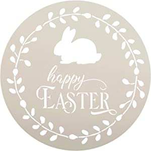 Happy Easter Round Stencil with Bunny by StudioR12 | DIY Spring Wreath Home Decor | Cursive Script Word Art | Craft & Paint Farmhouse Wood Signs | Reusable Mylar Template | Select Size (12 x 12 inch)