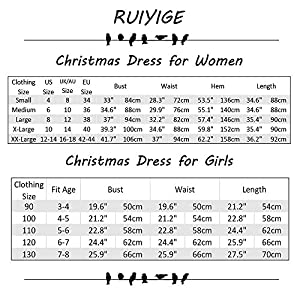 Ruiyige Women Girl Women's Christmas Pullover Flared A Line Dress