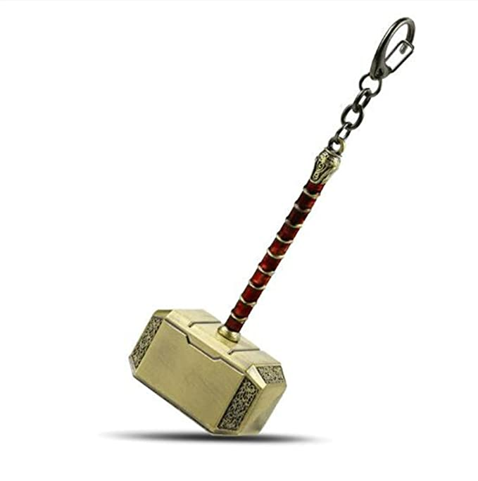 Amazon.com: Metal Keychain Mjolnir Figure Key Ring Gold ...
