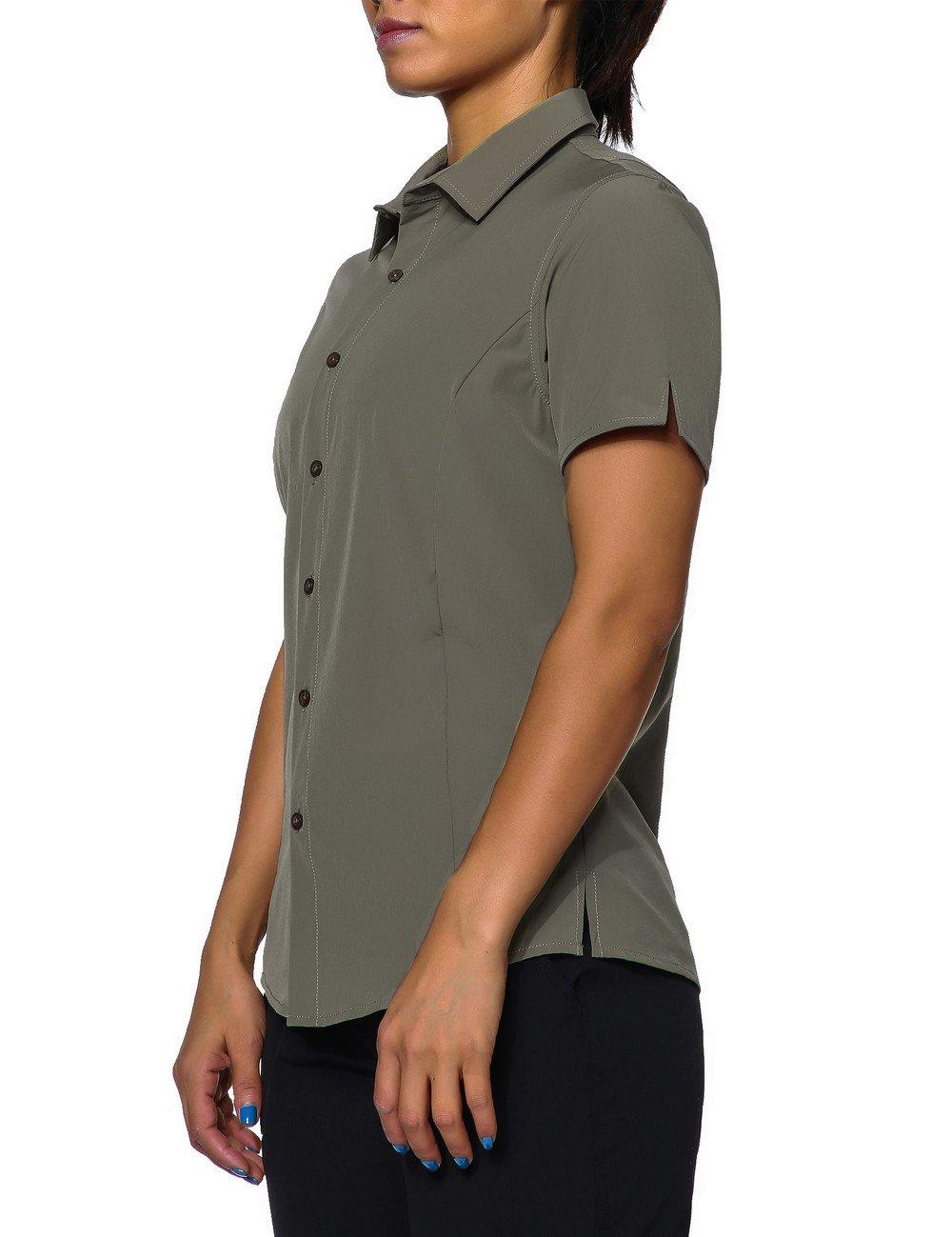 Unitop Womens Short-Sleeve Work Shirt Fishing Shirt for Hiking Camping