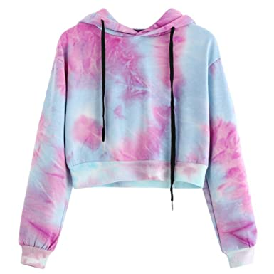 aa0772e3bbdc3b Amazon.com: Tloowy Women Teen Girls Fashion Tie-Dye Hoodie Crop Top Cozy  Long Sleeve Hooded Pullover Tops: Clothing