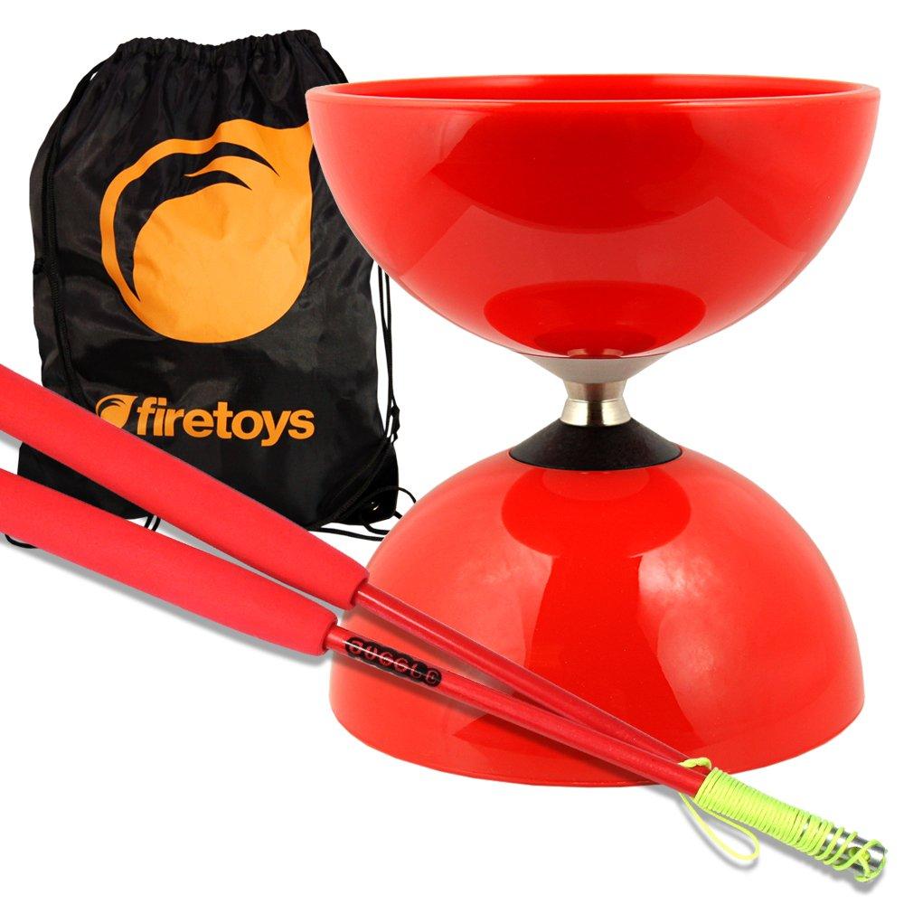 Rotes Big Top - Jumbo Bearing Diabolos Set, rote Superglass Diablo Stäbe, Diabolo Schnur & Firetoys® Tasche!