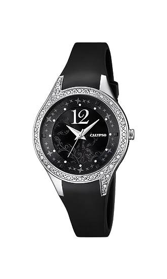 Calypso - Reloj de Mujer de Cuarzo con Negro Esfera analógica Pantalla y Correa de plástico en Color Negro K5660/4: Amazon.es: Relojes