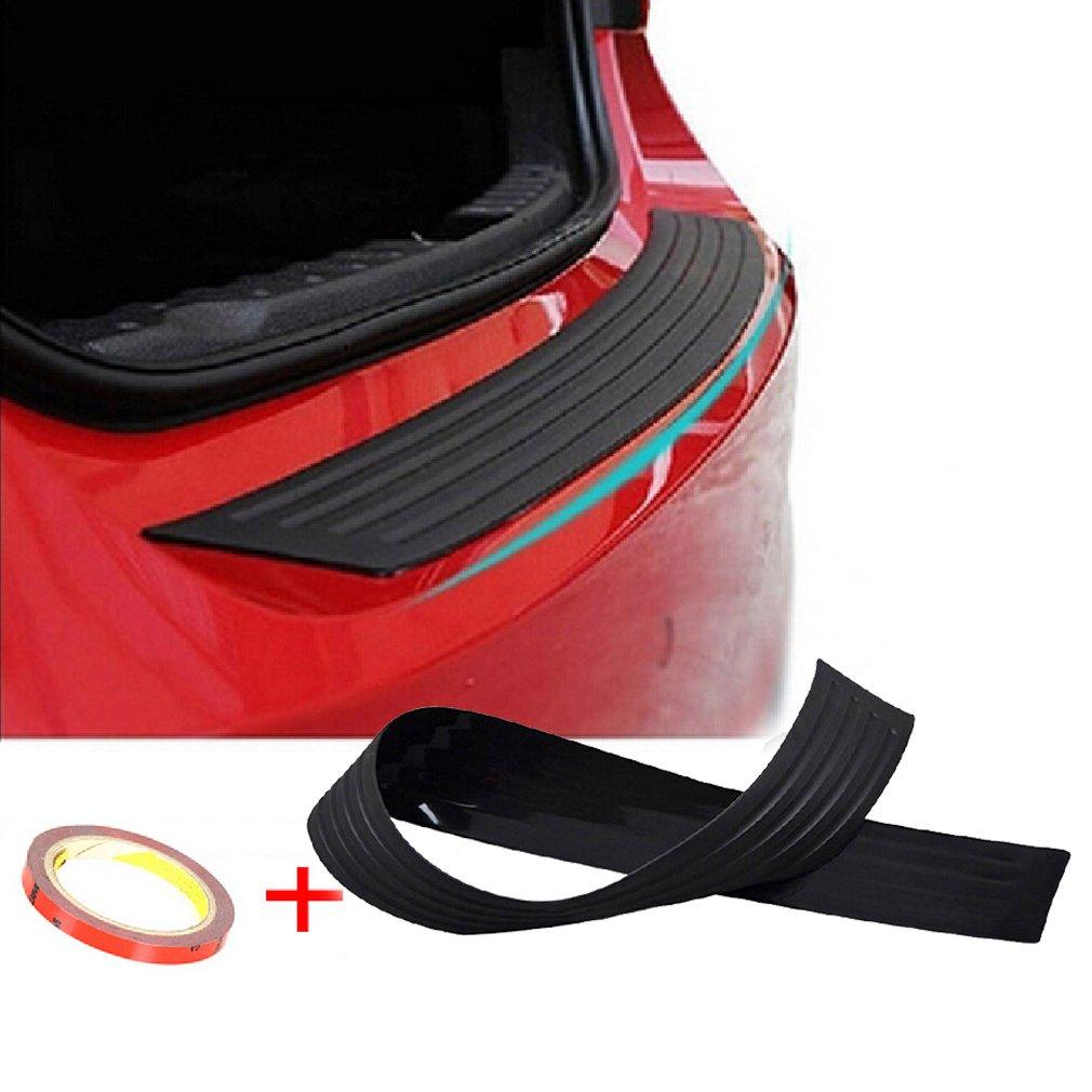 Car Rear Trunk Guard Plate Bumper Sill Protector Plate Rubber Cover Guard Trim Anti Scuff Protector Black