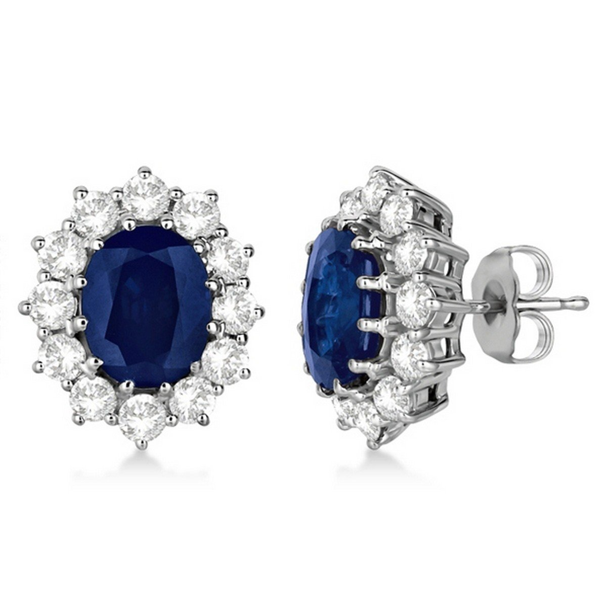 7.10ctw 18k Gold Oval Blue Sapphire and Diamond Earrings