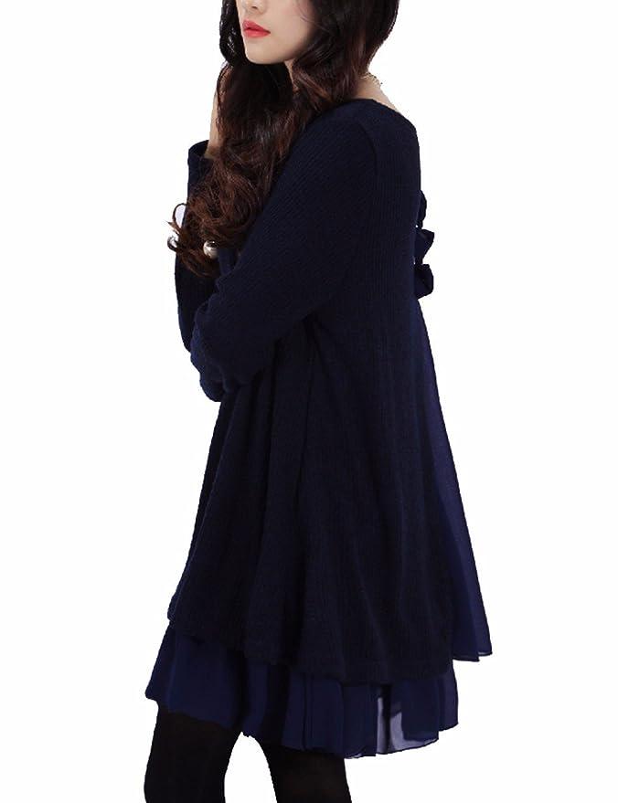 HAHAEMMA Vestido Tejido con Volantes y Lazo Cuello Redondo Casual Suéter Largo de Encaje Dobladillo Túnica Plus Size: Amazon.es: Ropa y accesorios