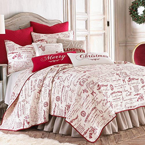 Noelle Full/Queen Quilt Set, White/Red Script, Cotton Christmas