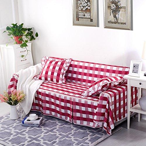 RUGAI-UE Sofa Slipcover General living room sofa cover cloth three sofa cloth Upholstered Sofa bed full lattice,Four seater 215×350cm,Elegant - red