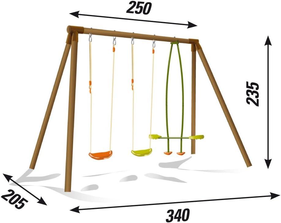 per 4 bambini larghezza 340 cm altalena in legno altezza 235 cm robusta sicura