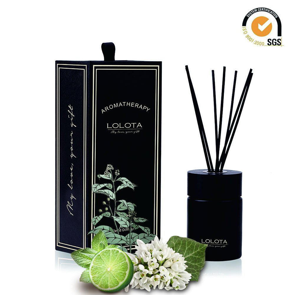 LALATA Reed Diffuser Essential Oil Sandalwood Jasmine Scent in Gift Box,Natural Scented Long Lasting Fragrance Oil for Aromatherapy and Air Freshener
