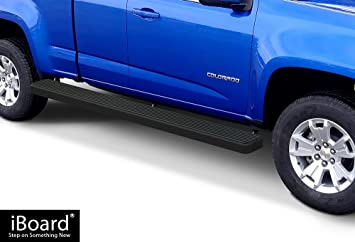 Step Rails for 2015-2019 Chevy Colorado//GMC Canyon Crew Cab Pickup 4-Door Nerf Bars APS iBoard Black Powder Coated 6 inches Side Steps Running Boards