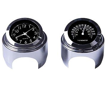 Reloj de manillar de la motocicleta y termómetro 7/8 pulgadas universal Reloj de manillar de la motocicleta impermeable Yamaha Kawasaki Honda Suzuki Harley ...
