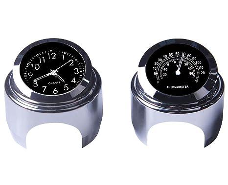 8fa7fa07971c1 Yooap Universal Motorrad Lenker Uhr & Thermometer 7/8 Zoll Wasserdicht für  Kawasaki Honda Suzuki Harley Davidson (Schwarz) (Uhr & Thermometer)