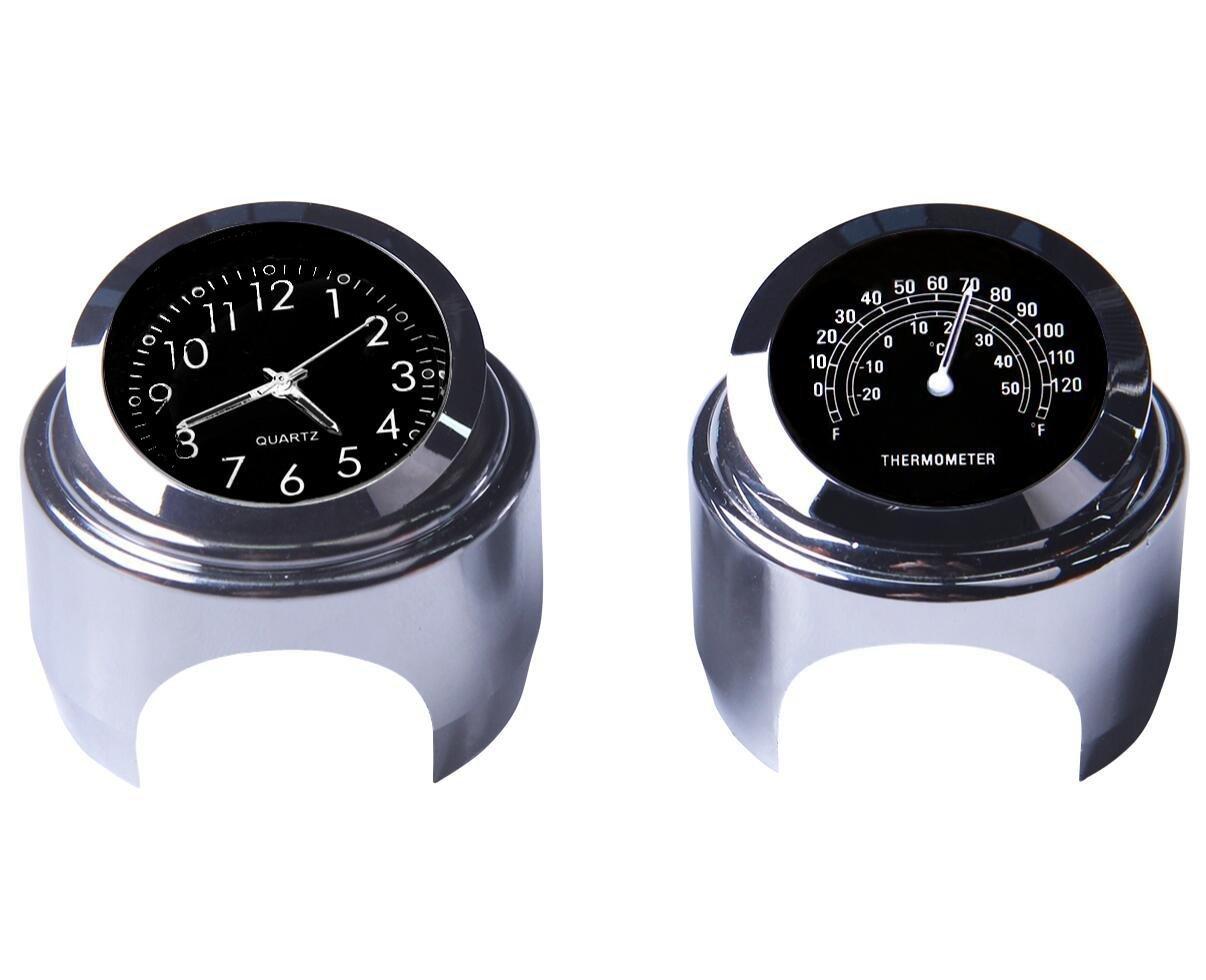 Reloj de manillar de la motocicleta y termómetro 7/8 pulgadas universal Reloj de manillar