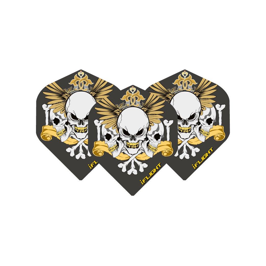 Nero in oro Skull & alette per freccette, Extra spesso, 4 pezzi per confezione, 12 & voli in totale), motivo: Dragone Rosso del Checkout Red Dragon Darts