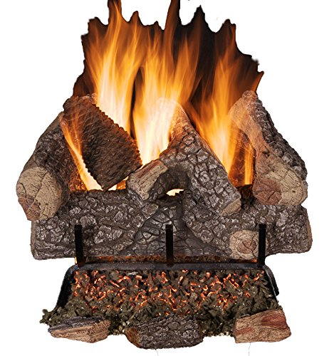Rasmussen Crestline Oak 18-inch 9-Piece Log Set With Vented Flaming Ember Burner & Grate, Match Lit, Natural Gas Only (Rasmussen Log Set)