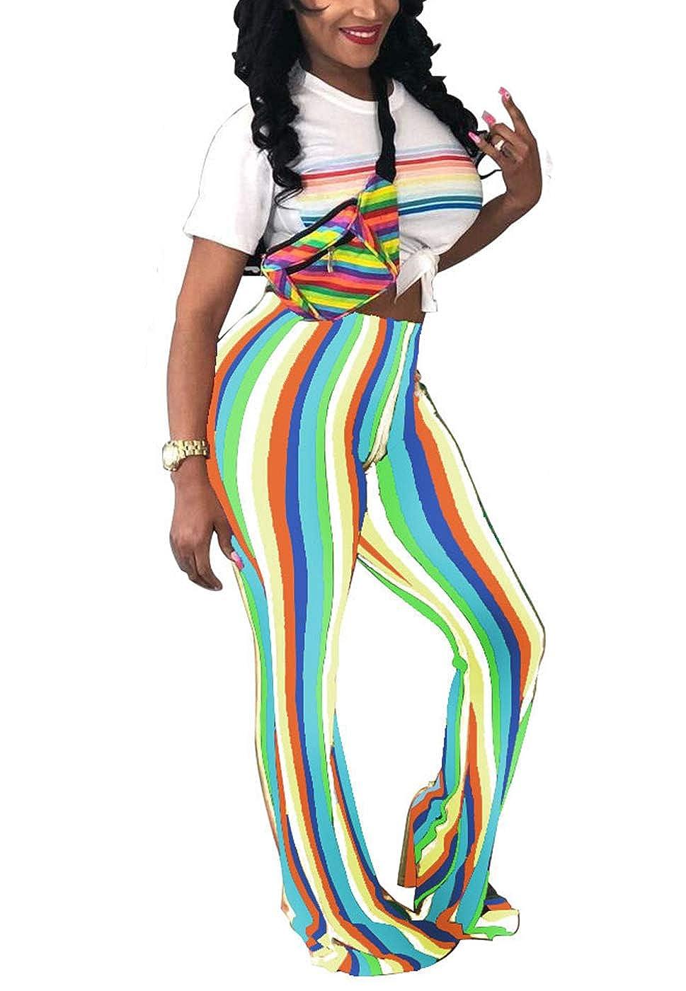 Pants Fashion Womens High Waist Flared Bell Bottom Pants Vintage ...
